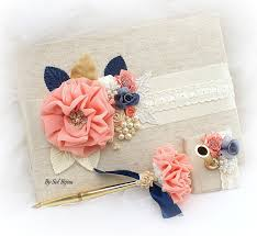 guest book and pen set wedding guest book navy blue coral ivory gold bridal