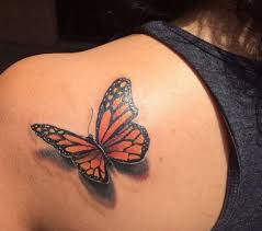 monarch butterfly with shadow on left back shoulder