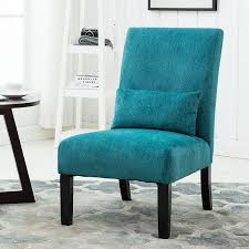 Contemporary Accent Chair Roundhill Furniture Pisano Teal Blue Fabric Armless
