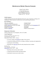 Maintenance Resume Example by Resume Resume Sample For Construction Worker