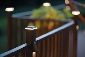 trex post cap lights close up view of trex signature railing in charcoal black with a