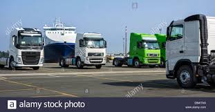 volvo lorry trucks from the volvo trucks assembly plant waiting to be loaded