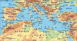 mediterranean map map of mediterranean sea several countries map in the atlas of