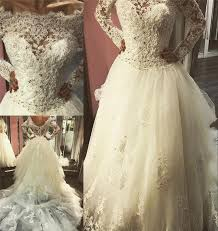 Wedding Dresses Discount Long Sleeves Lace A Line Wedding Dresses Discount Vintage Lace
