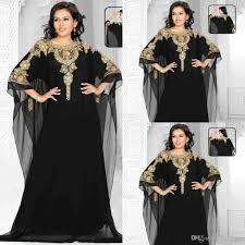 2017 plus size arabic chiffon black evening dresses gold beaded a
