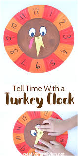 telling time with a turkey clock thanksgiving math telling time