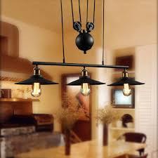 loft vintage pendant lights iron pulley lamp bar kitchen home decoration e27 edison light fixtures free