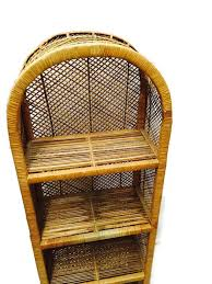 vintage rattan etagere bohemian decor 54 inch bamboo curio shelf