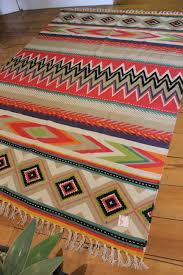 mexican aztec floor rug large style cotton rug tassel home decor