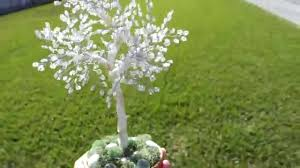 glass seeds beaded white tree sculpture white wire wrapped green