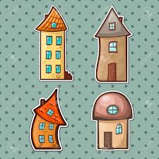 a set of hand drawn cartoon houses in different styles royalty