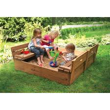 kids sandbox with cover lid convertible bench seats cedar wood