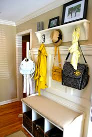 nice white color ideas with 3 baskets and coat hook design