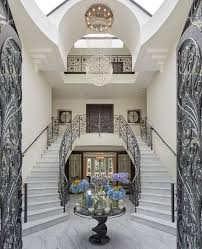Grand Foyer Double Curved Staircase Traditional With Wood Stair Tread Rugs