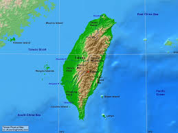 East China Sea Map by Taiwan Physical Map A Learning Family