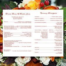 Printable Wedding Programs Printable Wedding Program Falling Leaves Autumn Yellow Red Orange