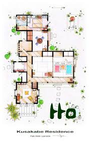 small house layout 4 bedrooms apartment plan with small square pool come with elegant