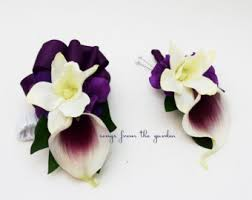 Corsage And Boutonniere For Prom Orchid Boutonniere Etsy