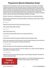 progressive muscle relaxation script worksheet therapist aid