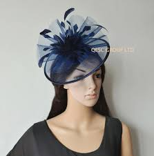 hair accessories melbourne new arrival navy blue crin fascinator feather fascinator for