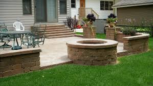 exterior astonishing home exterior design with round firepit on