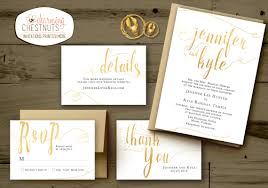 white and gold wedding invitations set classic gold