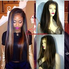 hair highlighted in front full lace wig highlight 1b 27 silky straight human hair lace front