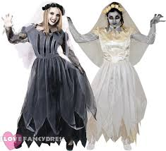 ladies ghost bride costume ripped halloween fancy dress veil and