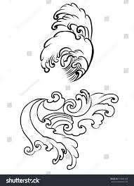 hand drawn japanese wave tattoo design stock vector 574661458