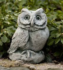 cast owl garden statue wind weather