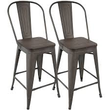 oregon industrial high back 24 inch counter stool set of 2