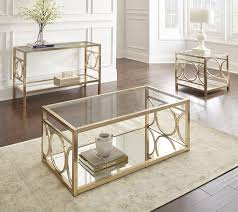 Chrome And Glass Sofa Table Steve Silver Olympia Glass Top End Table W Gold Chrome Base