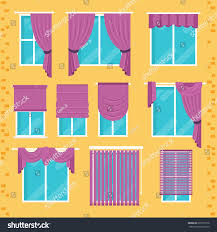 collection various window treatments curtains drapery stock vector