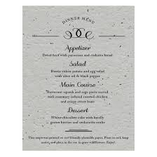 formal text plantable menu card plantable seed wedding menu cards