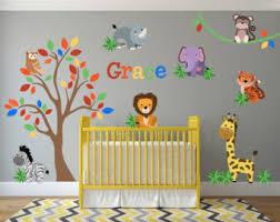 Jungle Wall Decal For Nursery Giraffe Wall Decals Jungle Nursery Decor Safari Wall Decals