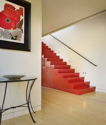 Red Laminate Flooring Red Color Of Stairway With Handrails On White Wall Paint