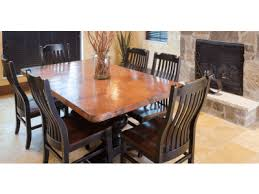 Copper Dining Room Tables Zinc And Copper Top Tables And Sets Kitchen Furniture Dining