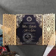 luxury invitation navy gold foil imprinting gate fold