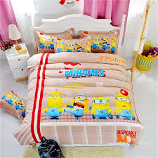 cotton bedding set cartoon printing minions mitch bedclothes