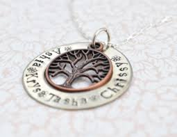 personalized family tree necklace personalized necklace personalized brass family tree