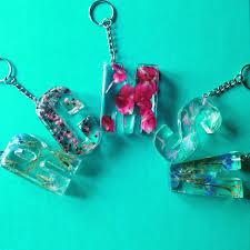 diy handmade custom pressed flower resin letter keyrings