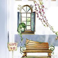 Home Decor Plants Living Room by Two Fake Windows Potted Plants Bench Wall Stickers Home Decoration