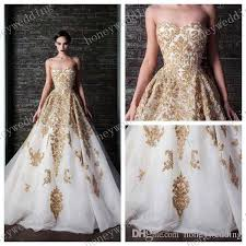 white wedding dress with gold beading discount vestido de noiva 2015 glamorous gold lace applique