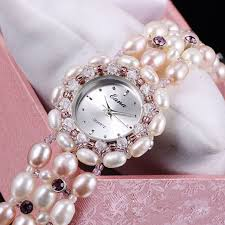 pearl bracelet watches images White pearl natural beads stone women 39 s bracelet watches lady jpg