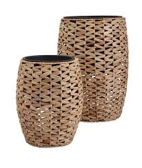 cayla natural weave planters with insert set of 2 beachy boheme