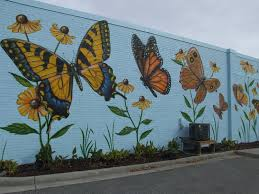 chip wilkinson u0027s butterfly mural on the wall of portlock galleries
