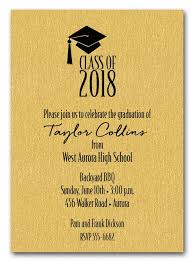 graduation invitations grad hat on shimmery gold graduation invitations or announcements