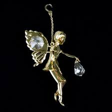 swarovski and gold moving wings ornament