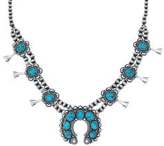 turquoise necklace images American west spiderweb turquoise squash blossom necklace page 1 001