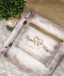 engraved wedding album shabby chic rustic wedding album or guest book with personalized
